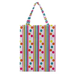 Stripes And Polka Dots Colorful Pattern Wallpaper Background Classic Tote Bag