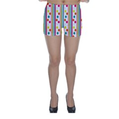 Stripes And Polka Dots Colorful Pattern Wallpaper Background Skinny Shorts