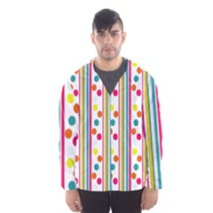 Stripes And Polka Dots Colorful Pattern Wallpaper Background Hooded Wind Breaker (men)