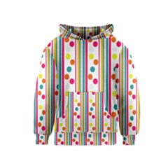 Stripes And Polka Dots Colorful Pattern Wallpaper Background Kids  Pullover Hoodie
