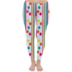 Stripes And Polka Dots Colorful Pattern Wallpaper Background Classic Winter Leggings