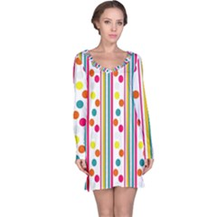 Stripes And Polka Dots Colorful Pattern Wallpaper Background Long Sleeve Nightdress