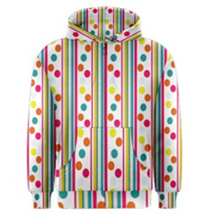 Stripes And Polka Dots Colorful Pattern Wallpaper Background Men s Zipper Hoodie