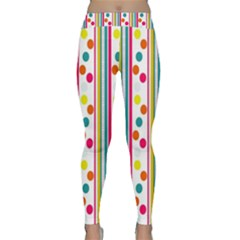 Stripes And Polka Dots Colorful Pattern Wallpaper Background Classic Yoga Leggings
