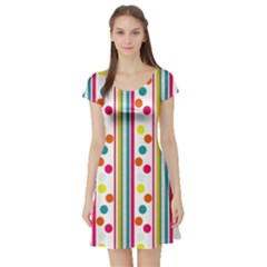 Stripes And Polka Dots Colorful Pattern Wallpaper Background Short Sleeve Skater Dress