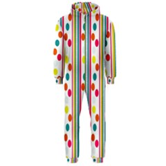 Stripes And Polka Dots Colorful Pattern Wallpaper Background Hooded Jumpsuit (Men)