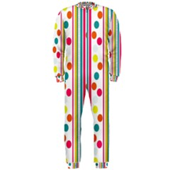 Stripes And Polka Dots Colorful Pattern Wallpaper Background Onepiece Jumpsuit (men)