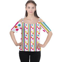 Stripes And Polka Dots Colorful Pattern Wallpaper Background Women s Cutout Shoulder Tee
