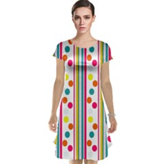 Stripes And Polka Dots Colorful Pattern Wallpaper Background Cap Sleeve Nightdress