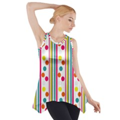 Stripes And Polka Dots Colorful Pattern Wallpaper Background Side Drop Tank Tunic