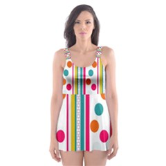 Stripes And Polka Dots Colorful Pattern Wallpaper Background Skater Dress Swimsuit