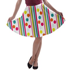 Stripes And Polka Dots Colorful Pattern Wallpaper Background A-line Skater Skirt