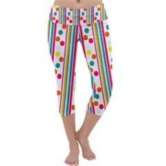 Stripes And Polka Dots Colorful Pattern Wallpaper Background Capri Yoga Leggings