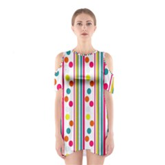 Stripes And Polka Dots Colorful Pattern Wallpaper Background Shoulder Cutout One Piece