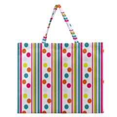 Stripes And Polka Dots Colorful Pattern Wallpaper Background Zipper Large Tote Bag