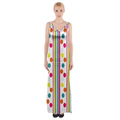 Stripes And Polka Dots Colorful Pattern Wallpaper Background Maxi Thigh Split Dress