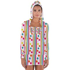 Stripes And Polka Dots Colorful Pattern Wallpaper Background Women s Long Sleeve Hooded T-shirt