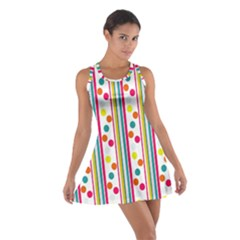 Stripes And Polka Dots Colorful Pattern Wallpaper Background Cotton Racerback Dress