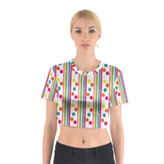 Stripes And Polka Dots Colorful Pattern Wallpaper Background Cotton Crop Top