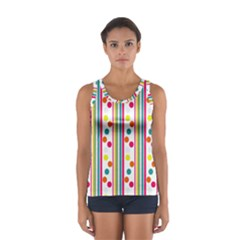 Stripes And Polka Dots Colorful Pattern Wallpaper Background Women s Sport Tank Top