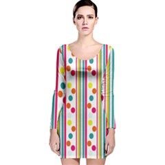 Stripes And Polka Dots Colorful Pattern Wallpaper Background Long Sleeve Velvet Bodycon Dress