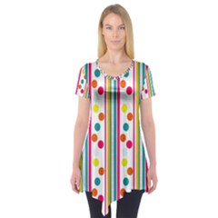 Stripes And Polka Dots Colorful Pattern Wallpaper Background Short Sleeve Tunic