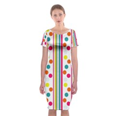 Stripes And Polka Dots Colorful Pattern Wallpaper Background Classic Short Sleeve Midi Dress