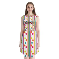 Stripes And Polka Dots Colorful Pattern Wallpaper Background Sleeveless Chiffon Dress