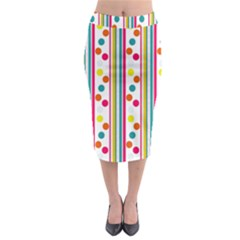 Stripes And Polka Dots Colorful Pattern Wallpaper Background Midi Pencil Skirt
