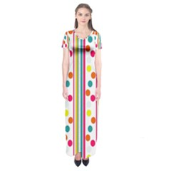Stripes And Polka Dots Colorful Pattern Wallpaper Background Short Sleeve Maxi Dress