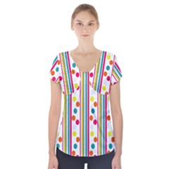 Stripes And Polka Dots Colorful Pattern Wallpaper Background Short Sleeve Front Detail Top