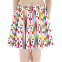 Stripes And Polka Dots Colorful Pattern Wallpaper Background Pleated Mini Skirt