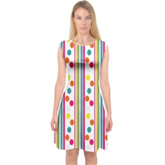 Stripes And Polka Dots Colorful Pattern Wallpaper Background Capsleeve Midi Dress