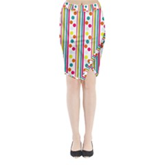 Stripes And Polka Dots Colorful Pattern Wallpaper Background Midi Wrap Pencil Skirt