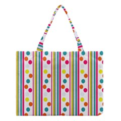 Stripes And Polka Dots Colorful Pattern Wallpaper Background Medium Tote Bag