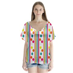 Stripes And Polka Dots Colorful Pattern Wallpaper Background Flutter Sleeve Top