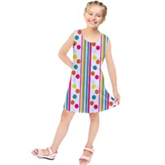 Stripes And Polka Dots Colorful Pattern Wallpaper Background Kids  Tunic Dress