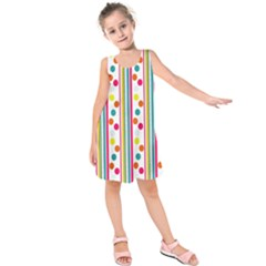 Stripes And Polka Dots Colorful Pattern Wallpaper Background Kids  Sleeveless Dress