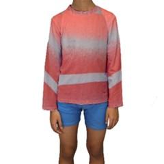 Orange Stripes Colorful Background Textile Cotton Cloth Pattern Stripes Colorful Orange Neo Kids  Long Sleeve Swimwear