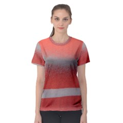 Orange Stripes Colorful Background Textile Cotton Cloth Pattern Stripes Colorful Orange Neo Women s Sport Mesh Tee