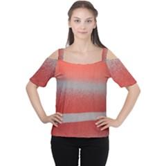 Orange Stripes Colorful Background Textile Cotton Cloth Pattern Stripes Colorful Orange Neo Women s Cutout Shoulder Tee