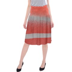 Orange Stripes Colorful Background Textile Cotton Cloth Pattern Stripes Colorful Orange Neo Midi Beach Skirt