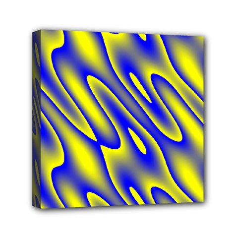 Blue Yellow Wave Abstract Background Mini Canvas 6  X 6