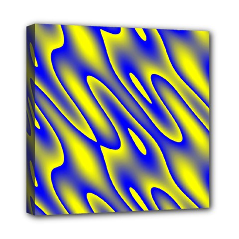 Blue Yellow Wave Abstract Background Mini Canvas 8  x 8