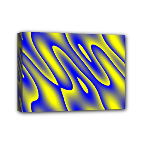 Blue Yellow Wave Abstract Background Mini Canvas 7  X 5