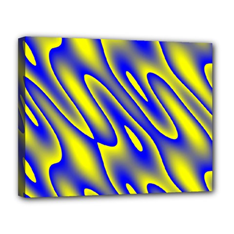 Blue Yellow Wave Abstract Background Canvas 14  x 11