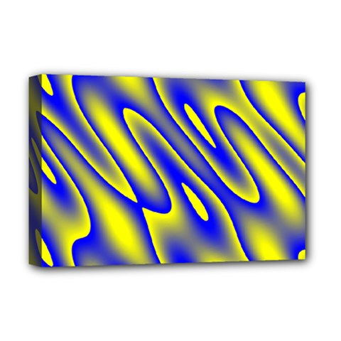 Blue Yellow Wave Abstract Background Deluxe Canvas 18  X 12