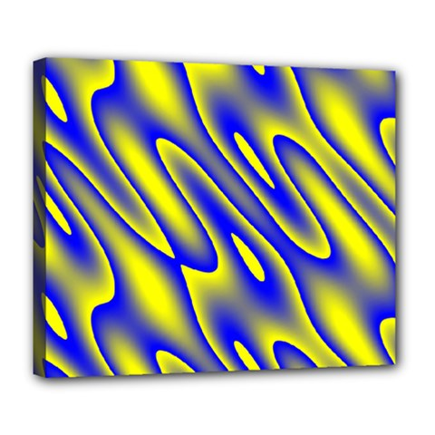 Blue Yellow Wave Abstract Background Deluxe Canvas 24  X 20