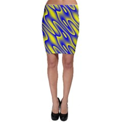 Blue Yellow Wave Abstract Background Bodycon Skirt