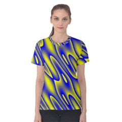Blue Yellow Wave Abstract Background Women s Cotton Tee